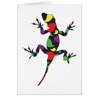 Gecko multicolore de Paisley Carte De Vœux