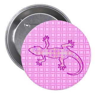 Gecko tribal de batik - rose d orchidée et de badge avec épingle