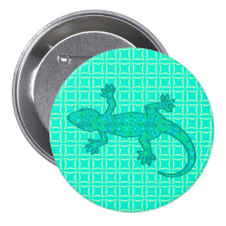 Gecko tribal de batik - turquoise paon badge avec épingle