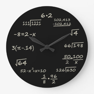 Geek de maths grande horloge ronde