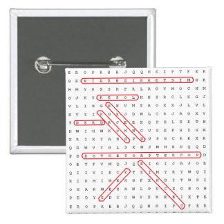 Geek de recherche de mot badge carré 5 cm