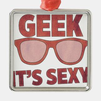geek il est sexy ornement carré argenté