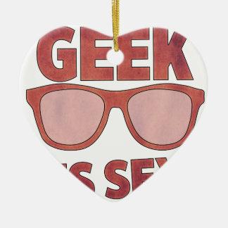geek il est sexy ornement cœur en céramique