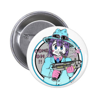 Geek manga gun girl badge