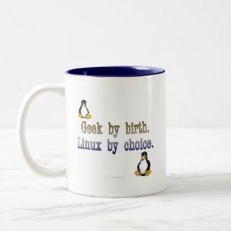 Geek par naissance. Linux par choix Mug Bicolore