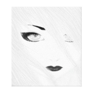 Geisha de neige noir et blanc toiles