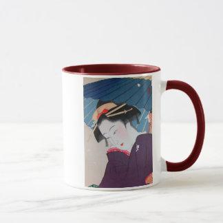 Geisha japonais avec le parapluie mug