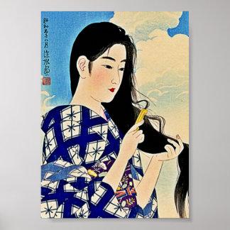Geisha peignant l'art japonais d'Ukiyo-E de bois d Posters