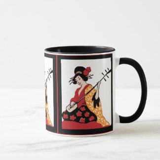 Geisha vintage et Shamisen d'art de tasse