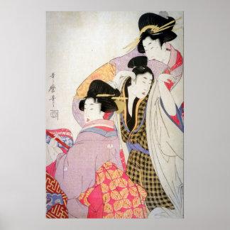 Geishas d'Utamaro avec le client pompette Posters