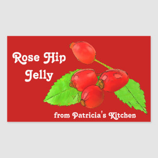 Gelée de hanche rose ou cadeau faite maison de sticker rectangulaire