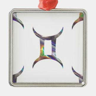 Gémeaux d'hologramme ornement carré argenté
