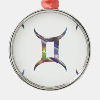 Gémeaux d'hologramme ornement rond argenté