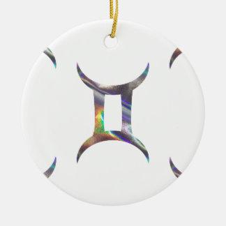 Gémeaux d'hologramme ornement rond en céramique