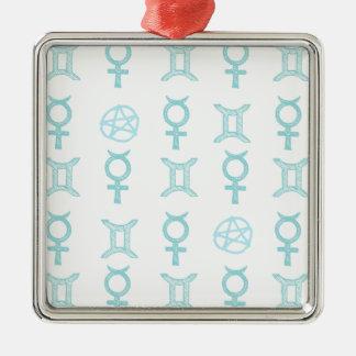 Gémeaux en pastel ornement carré argenté