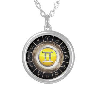 Gémeaux - le symbole astrologique de jumeaux pendentif rond