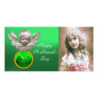 Gemme FLORENTINE de shamrock de vert d'ANGE de la Cartes De Vœux Avec Photo