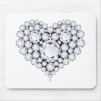 Gemmes de coeur de diamants tapis de souris
