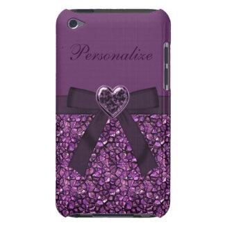 Gemmes et copie pourpres de bijou de coeur coque iPod touch