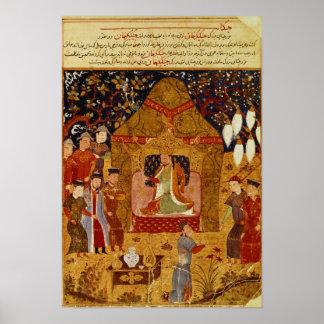 Genghis Khan dans sa tente par Al-Vacarme de Rashi Affiche