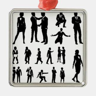 Gens d'affaires de silhouettes ornement carré argenté