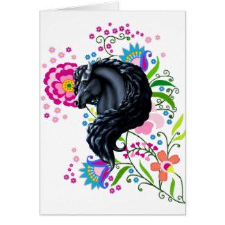 Gens frisons, cheval, étalon noir carte de vœux