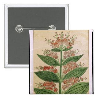 Gentiane avec les fleurs imaginaires badge carré 5 cm