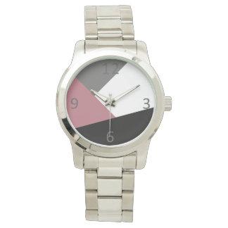 geometrics rose, noir, gris poussiéreux clair montres cadran