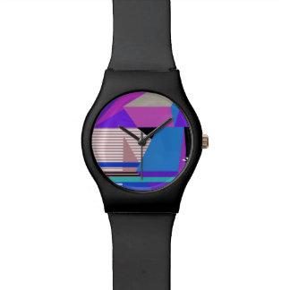 Géométrique abstrait de pourpre montres bracelet