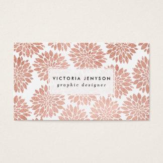 Géométrique abstrait floral de scintillement rose cartes de visite