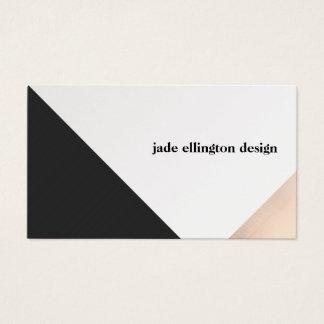 Géométrique abstrait rose moderne d'or et de noir cartes de visite