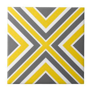 Géométrique blanc jaune gris carreau