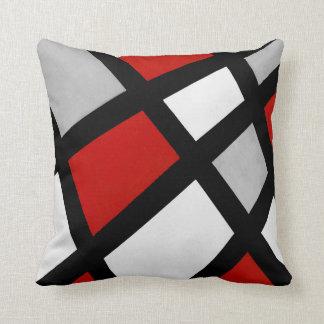 Géométrique blanc noir gris rouge coussin