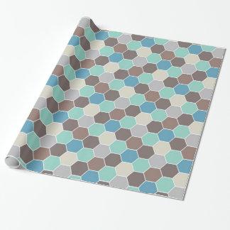 Géométrique bleu et gris papier cadeau noël