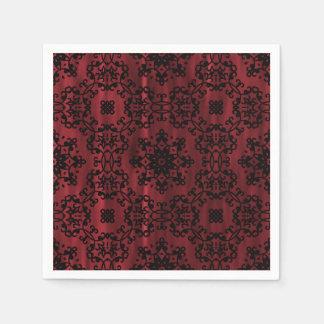Géométrique grunge gothique rouge foncé et noir serviettes en papier