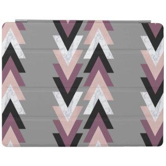 géométrique noir pourpre de marbre blanc de protection iPad