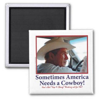 George W Bush dans le casquette de cowboy Magnet Carré