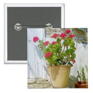 Géranium rouge d'aquarelle pin's