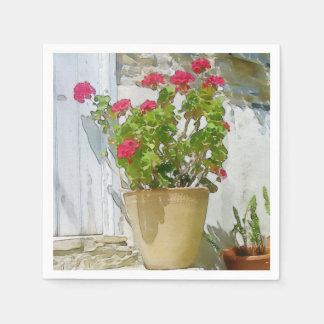 Géranium rouge d'aquarelle serviettes en papier