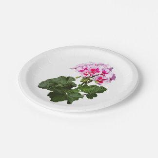 Géranium rouge et rose assiettes en papier