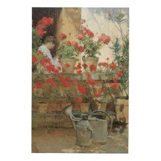 Géraniums par Hassam impressionisme floral Impressions Sur Bois