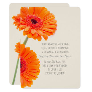 Gerbera orange, faire-part de mariage floral