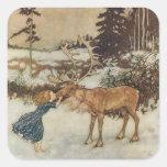 Gerda vintage et le renne par Edmund Dulac Autocollant