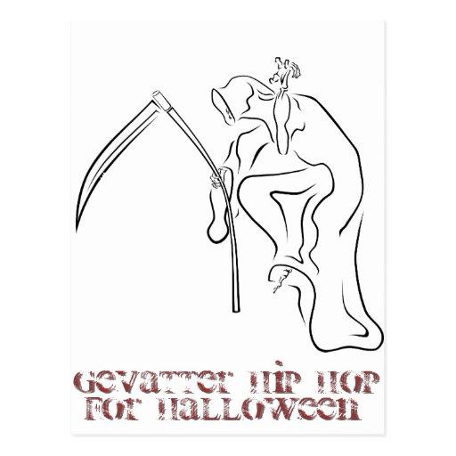 Gevatter/parrain/HIP HOP pour Halloween Carte Postale