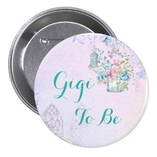 Gigi à être bouton floral de baby shower de badges