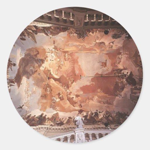 Giovanni Tiepolo : Apollo et les continents Autocollants Ronds