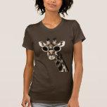 Girafe avec des lunettes de lunettes de soleil de t-shirts