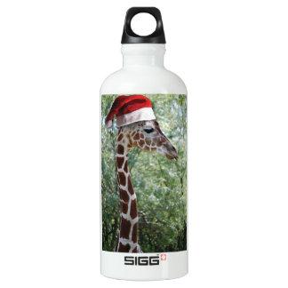 Girafe avec un casquette du père noël dessus bouteille d'eau en aluminium