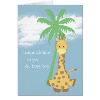 Girafe bleu-clair de nouvelles félicitations de cartes