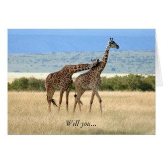 Girafe carte de 2 Saint-Valentin